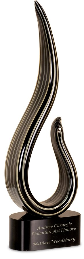 BLACK/GOLD CURVE ART GLASS