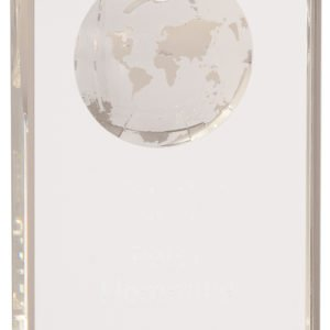 LARGE CRYSTAL RECTANGLE W/ETCHED GLOBE