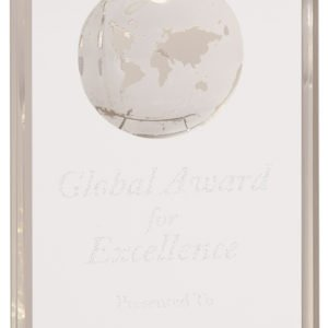MEDIUM CRYSTAL RECTANGLE W/ETCHED GLOBE