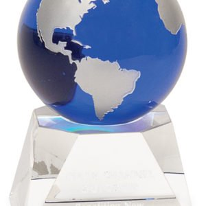 MEDIUM CRYSTAL BLUE GLOBE W/CLEAR BASE