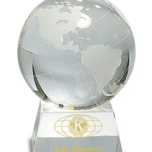 LARGE CRYSTAL GLOBE W/CLEAR BASE