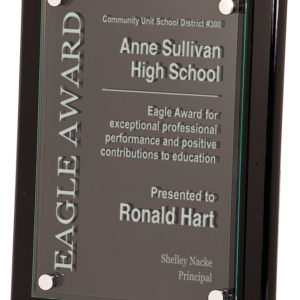 BLACK PIANO FINISH FLOATING GLASS PLAQUE