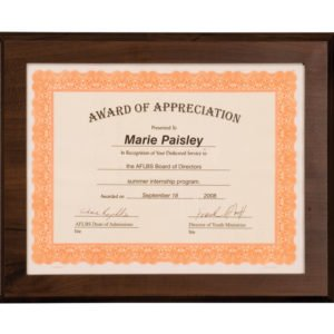 10 1/2 X 13 CHERRY SLIDE-IN FRAME PLAQUES