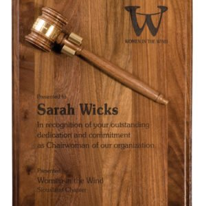 9 X 12 STEP EDGE GENUINE WALNUT PLAQUE W/GAVEL & BRASS BAND