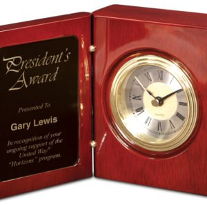 "5 3/8"" ROSEWOOD PIANO FINISH BOOK CLOCK"