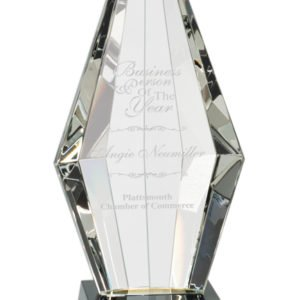 "11"" CRYSTAL OBELISK ON BLACK BASE"
