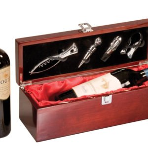 ROSEWOOD PIANO FINISH SINGLE WINE BOX