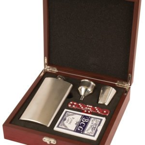 ROSEWOOD FINISH FLASK SET WITH CARDS & DICE