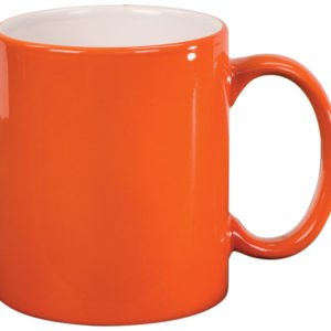 11 OZ ORANGE ROUND LAZERMUGS