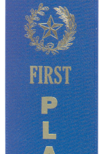 "1ST PLACE BLUE ""PINKED TOP"" RIBBON"