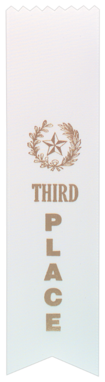 """3RD PLACE WHITE """"PINKED TOP"""" RIBBON"""