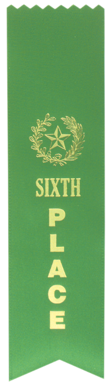 "6TH PLACE GREEN ""PINKED TOP"" RIBBON"