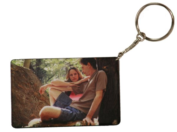 MATTE FINISH RECTANGLE KEY CHAIN WITH BLACK EDGE