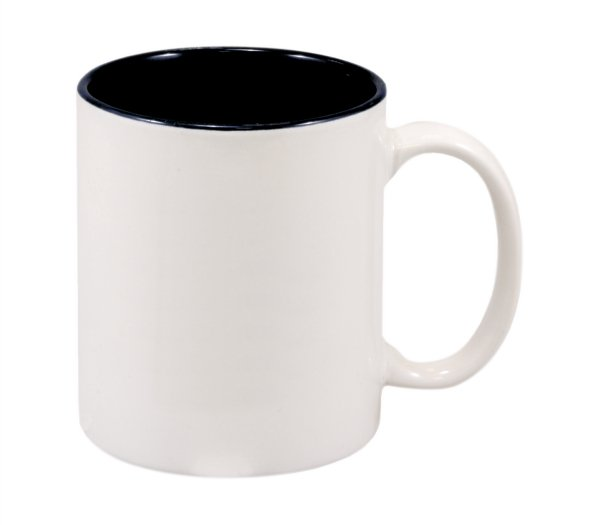 11 OZ WHITE/BLACK CERAMIC MUG
