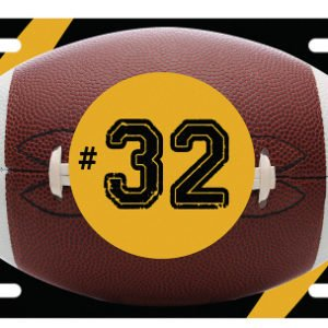 ALUMINUM FOOTBALL ACTION LICENSE PLATE